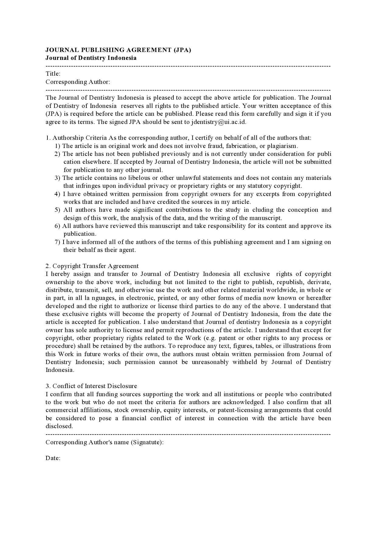 Journal Publishing Agreement